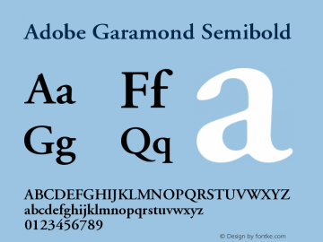 Adobe Garamond Semibold Version 001.003图片样张