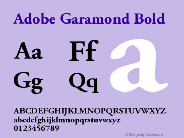 Adobe Garamond Bold Version 001.003图片样张