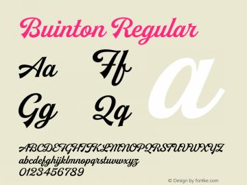 Buinton Regular Version 1.000;PS 001.000;hotconv 1.0.88;makeotf.lib2.5.64775图片样张