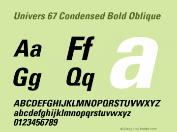 Univers-CondensedBoldOblique Version 001.000 Font Sample