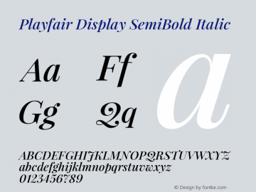 Playfair Display SemiBold Italic Version 1.000图片样张