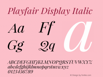 Playfair Display Italic Version 1.000图片样张