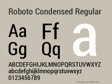 Roboto Condensed Regular Version 1.200311; 2013; build; 20140619 Font Sample