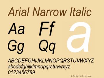 Arial Narrow Italic Version 2.30图片样张