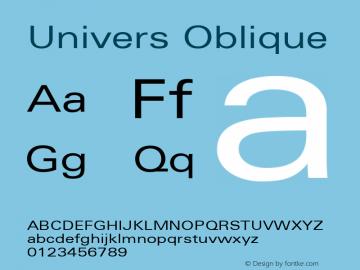 Univers 53 Extended Oblique Version 001.001 Font Sample