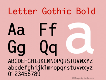 Letter Gothic Bold Version 1.21图片样张