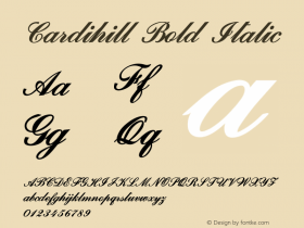 Cardihill-BoldItalic Version 1.000图片样张