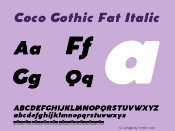 Coco Gothic Fat Italic Version 2.001图片样张