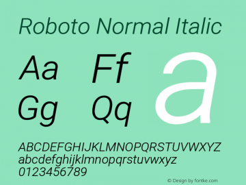 Roboto Normal Italic Version 1.00 July 23, 2014, initial release图片样张