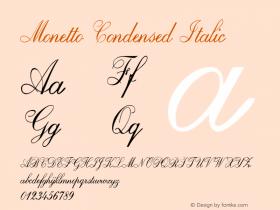 Monetto-CondensedItalic Version 1.000图片样张