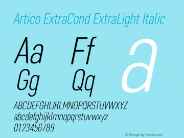 Artico ExtraCond ExtraLight Italic Version 1.000图片样张
