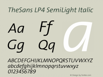 TheSans LP4 SemiLight Italic Version 1.641 2006图片样张