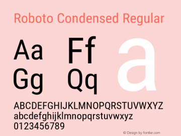 Roboto Condensed Version 2.001201; 2014图片样张