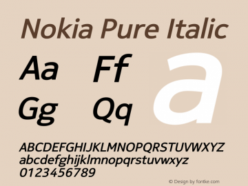 Nokia Pure Italic Version 4.14 March 27, 2011 Font Sample