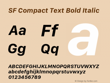 SF Compact Text Bold Italic Version 1.00 April 2, 2017, initial release图片样张