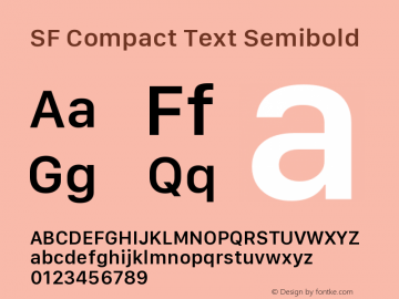 SF Compact Text Semibold Version 1.00 April 2, 2017, initial release图片样张