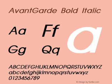 AvantGarde Bold Italic Converted from D:\FONTTEMP\AVANTGAR.BF1 by ALLTYPE Font Sample