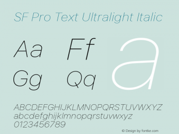SF Pro Text Ultralight Italic Version 01.0d1e2图片样张