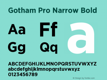 GothamPro-NarrowBold Version 1.100; Cyrillic Support图片样张