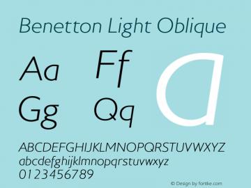 Benetton-LightOblique Version 1.000图片样张