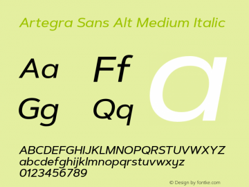 ArtegraSansAlt-MediumItalic Version 1.00;com.myfonts.easy.artegra.artegra-sans.alt-medium-italic.wfkit2.version.4Kpe图片样张