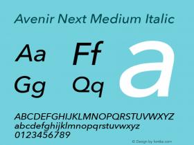 Avenir Next Medium Italic 8.0d5e5图片样张