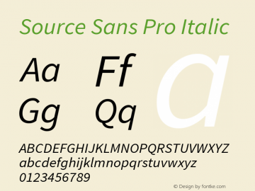 Source Sans Pro Italic Version 1.050;PS Version 1.000;hotconv 1.0.70;makeotf.lib2.5.5900图片样张