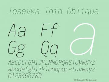 Iosevka Thin Oblique 1.12.4; ttfautohint (v1.6)图片样张