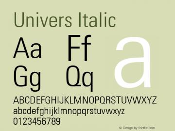Univers 47 Condensed Light Version 1.01 Font Sample
