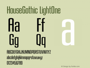 HouseGothic-LightOne Version 001.000图片样张
