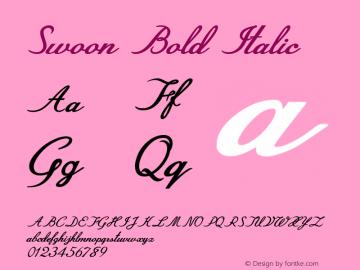 Swoon-BoldItalic Version 1.000图片样张