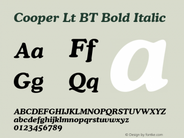 Cooper Bold Italic BT mfgpctt-v1.53 Friday, January 29, 1993 3:42:59 pm (EST)图片样张