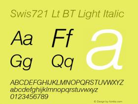 Swiss 721 Light Italic BT mfgpctt-v1.52 Monday, January 25, 1993 11:38:31 am (EST)图片样张