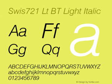 Swiss 721 Light Italic BT mfgpctt-v1.52 Monday, January 25, 1993 11:38:31 am (EST)图片样张