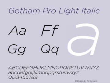 GothamPro-LightItalic Version 1.100; Cyrillic Support图片样张