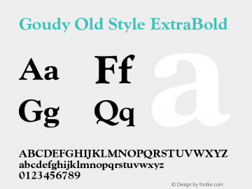 Goudy Old Style Extra Bold Version 003.001图片样张