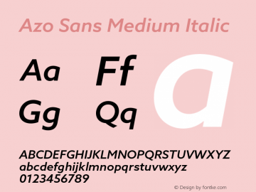 AzoSans-MediumItalic Version 1.001图片样张