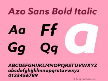 AzoSans-BoldItalic Version 1.001图片样张