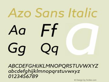 AzoSans-Italic Version 1.001图片样张
