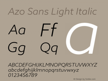 AzoSans-LightItalic Version 1.001图片样张
