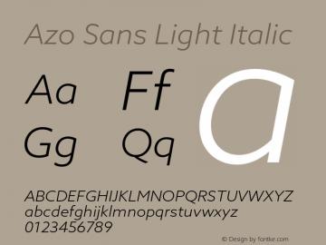 AzoSans-LightItalic Version 1.001图片样张