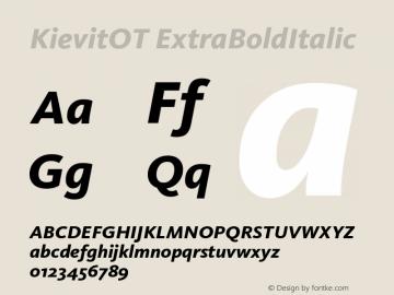 KievitOT-ExtraBoldItalic Version 7.460;PS 7.046;hotconv 1.0.38图片样张