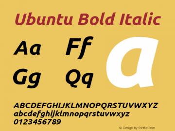 Ubuntu Bold Italic 0.83 Font Sample