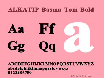 ALKATIP Basma Tom Bold Version 1.00 September 16, 2006, initial release图片样张