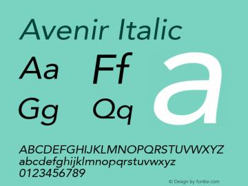 Avenir 55 Oblique Version 2.0; 2001; initial release图片样张