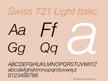 Swiss 721 Light Italic Version 003.001图片样张