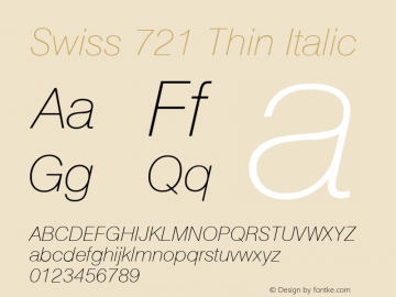 Swiss 721 Thin Italic Version 003.001图片样张