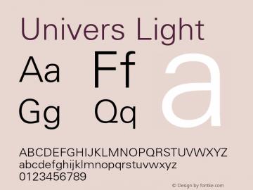 Univers 45 Light Version 001.003 Font Sample