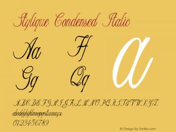 Stylique-CondensedItalic Version 1.000图片样张