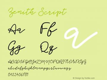 Zenith Script Version 1.000;PS 001.000;hotconv 1.0.88;makeotf.lib2.5.64775图片样张